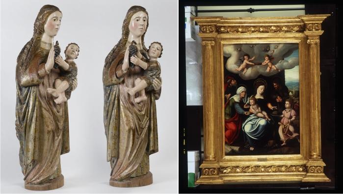 Izquierda: Virgen con el niño. Madera policromada Escuela Castellana Castilla, España Siglo XVI. Derecha: La Sagrada Familia óleo sobre tabla Jan Van Scorel (Schorel, 1495 - Utrecht, 1562) Países Bajos 1512-1562 (DP)
