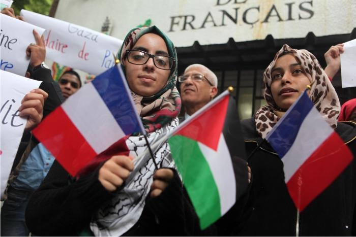 Concentración de solidaridad con París en Gaza. Foto: Corbis.
