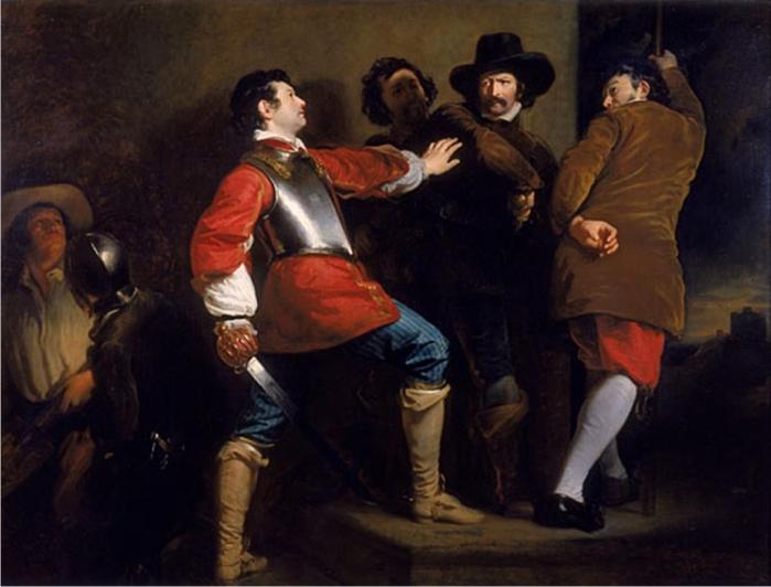 El descubrimiento de la conspiración de la pólvora y detención de Guy Fawkes, de Henry Perronet Briggs (DP)