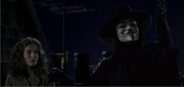 Escena de la adaptación cinematográfica de V de Vendetta. Imagen: Warner Bros.