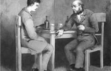 Raskolnikov y Marmeladov, de Crimen y castigo. Ilustración: Mijaíl Petrovich Klodt (DP)