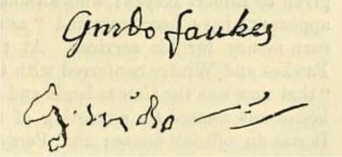 La firma de Fawkes, antes y después de la tortura (DP)
