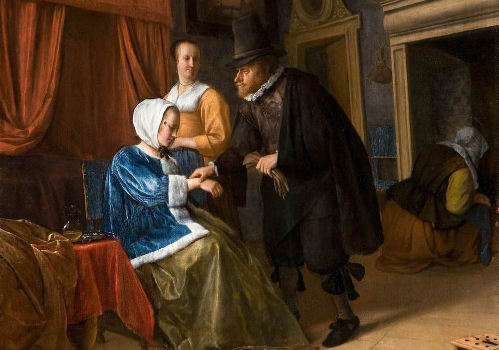 La joven enferma (ca.1660-1662) de Jan Havicksz Steen . Imagen: DP