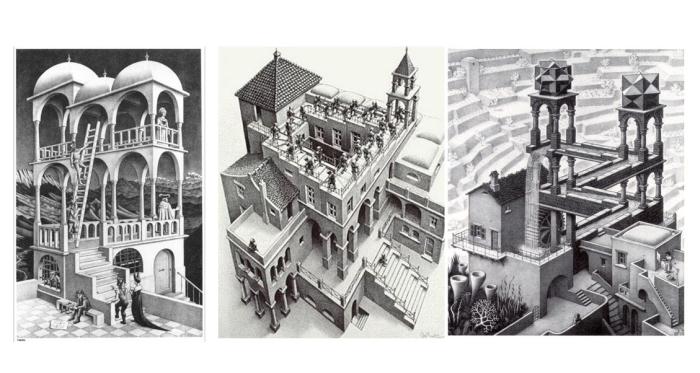 Belvedere (1958). Escaleras arriba y escaleras abajo (1960). Cascada (1961).
