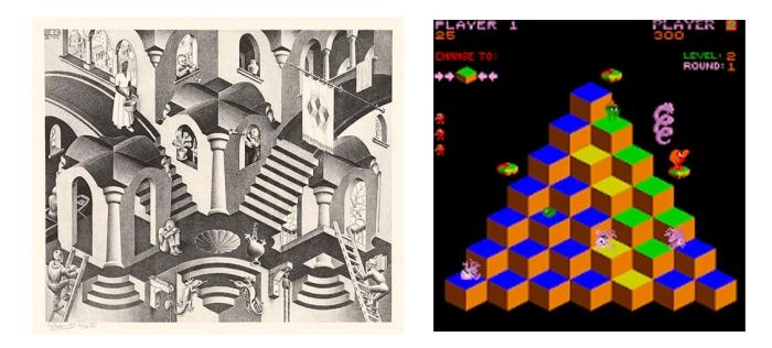 Convexo y cóncavo (1955), Q*Bert (1982).