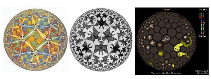 Límite circular III (1959). Límite circular IV (1960). HyperRogue (2015)