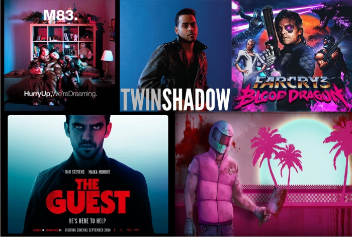 Portada de Hurry up We're dreaming de M83. Portada de Confess de Twin shadow. Portada del videojuego Farcy 3: blood dragon. Cartel promocional de The guest. Ilustración del videojuego Hotline Miami.