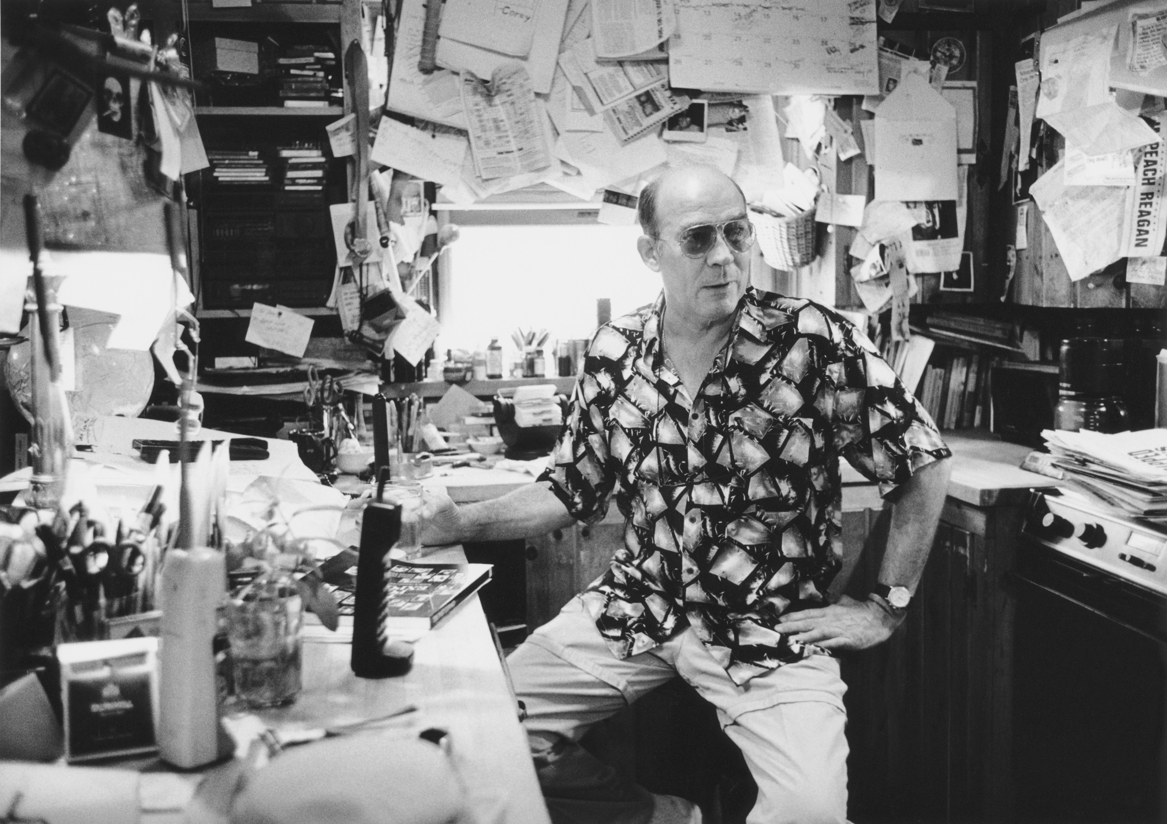 1994, Aspen, Colorado, USA --- Hunter S. Thompson in His Office --- Image by © Christopher Felver/CORBIS