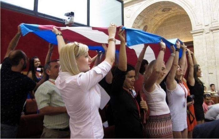Una protesta de los miembros de la Asociación de Transexuales de Andalucía Sylvia Rivera.