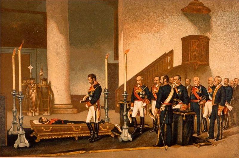 Amadeo_I_frente_al_féretro_del_general_Prim_de_Antonio_Gisbert_1870