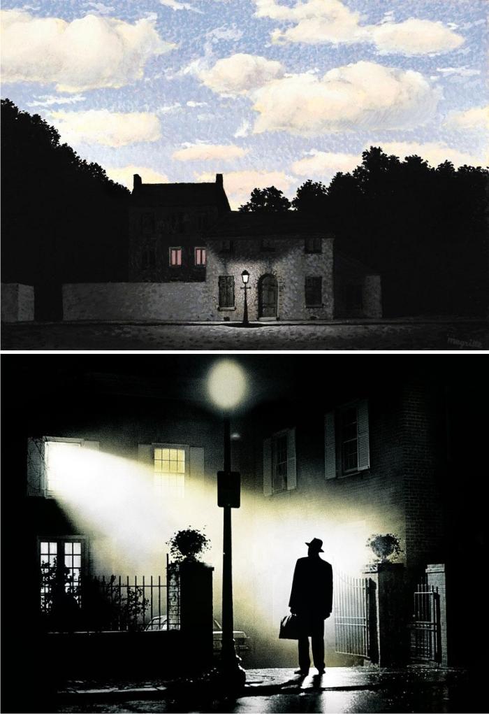 El imperio de las luces de René Magritte y El exorcista, imagen de Warner Bros.