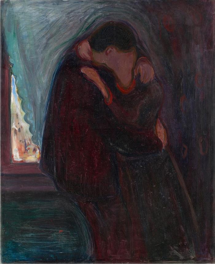 Versión de El beso de 1897, de Edvard Munch.