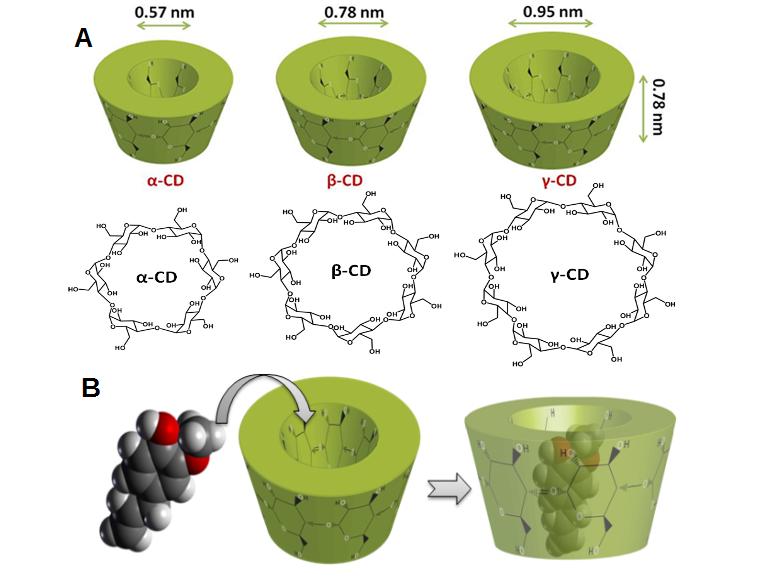 Imagen 3: A) Estructura de ciclodextrinas. B) Proceso de encapsulación molecular. Imagen cortesía de Blikent University.