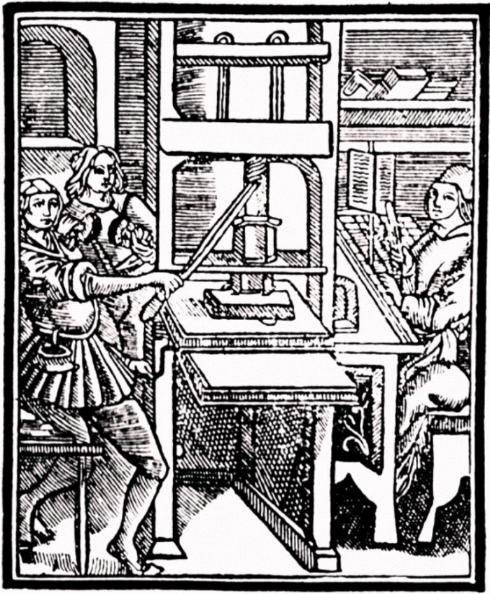 Grabado alusivo al proceso de impresión. Autor desconocido. (DP)