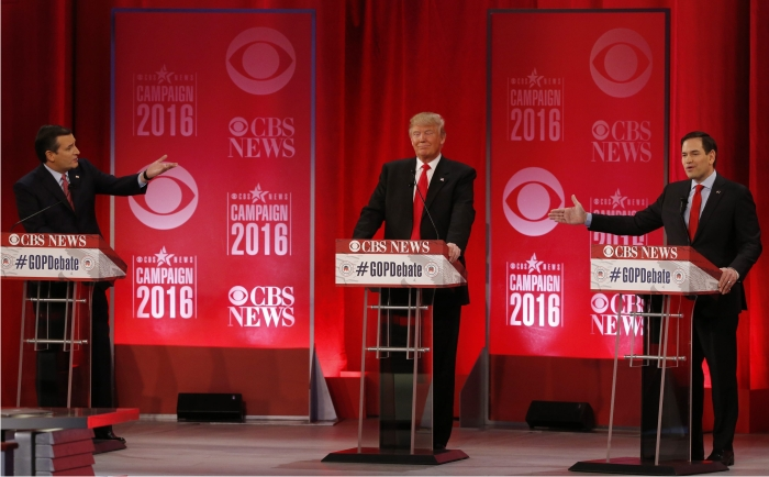 Ted Cruz, Donald Trump y Marco Rubio durante un debate. Foto: Cordon Press.