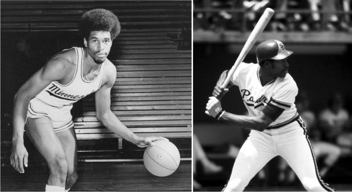 Dave Winfield como baloncestista universitario y como exterior profesional del béisbol. Imagen cortesía de MBL.