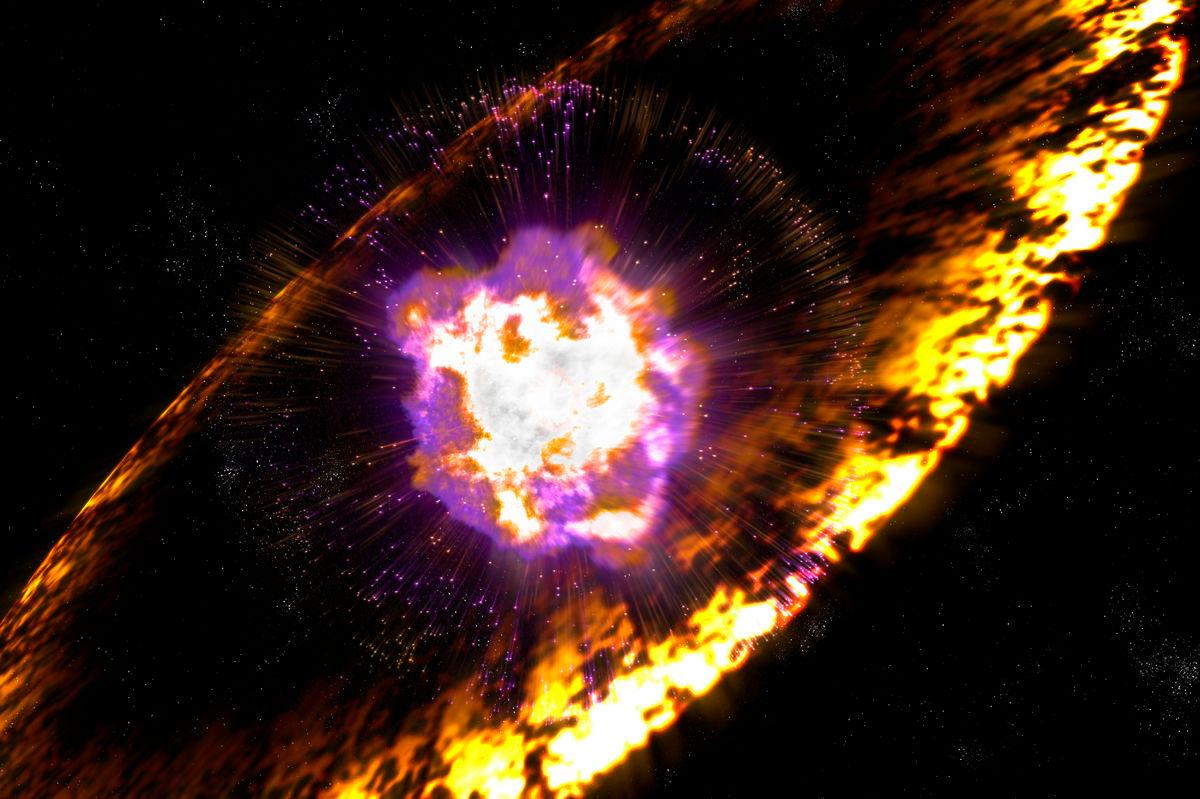 Explosión de una supernova. Ilustración: Greg Stewart/SLAC National Accelerator Laboratory (CC).