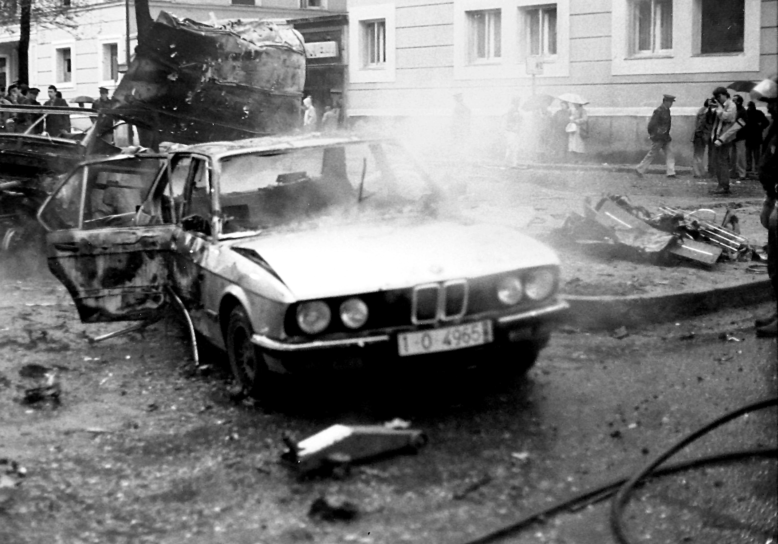 26 Apr 1986, Madrid, Spain --- Madrid, Spain. 26th April 1986 -- A car bomb blew up near a police minivan, killing 5. The explosion shattered windows at surrounding buildings and ripped a hole in the facade of a nearby hospital, witnesses said. -- At dawn of the Apr. 25, 1986 a big explosion killed five Guardia Civiles in one of the main streets of Spains capital. The bomb, apparently set off by remote control, exploded as a jeep carrying the guards drove near the Italian Embassy at 7:22 a.M. --- Image by © jhinojosacobacho/Demotix/Corbis