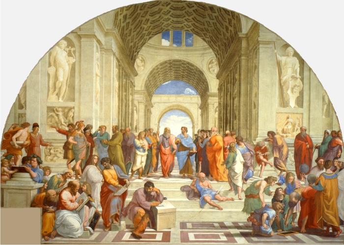 La escuela de Atenas, de Rafael. ¿Tiene la fisis un arjé común? (DP)