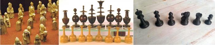 Evolución de las piezas de ajedrez, de los juegos encontrados en la isla de Lewis (del siglo XII) al estiloso juego Regence, terminando en las modernas Staunton, diseño oficial de la FIDE. Imágenes cortesía de Chess Museum; Fotos Staunton: Diego Rasskin)