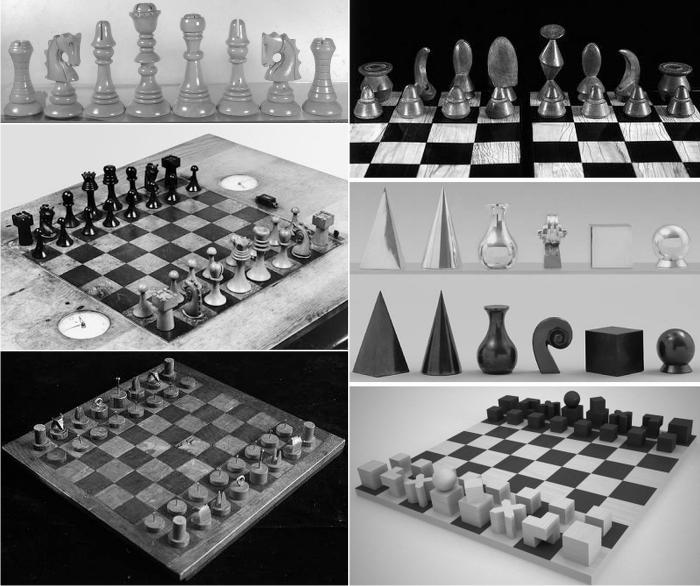 Los artistas al servicio de la estética en ajedrez. De arriba abajo y de derecha a izquierda: Gaudí, Ernst, Duchamp, Ray, Calder y Hartwig. Imágenes cortesía de Chess Museum.