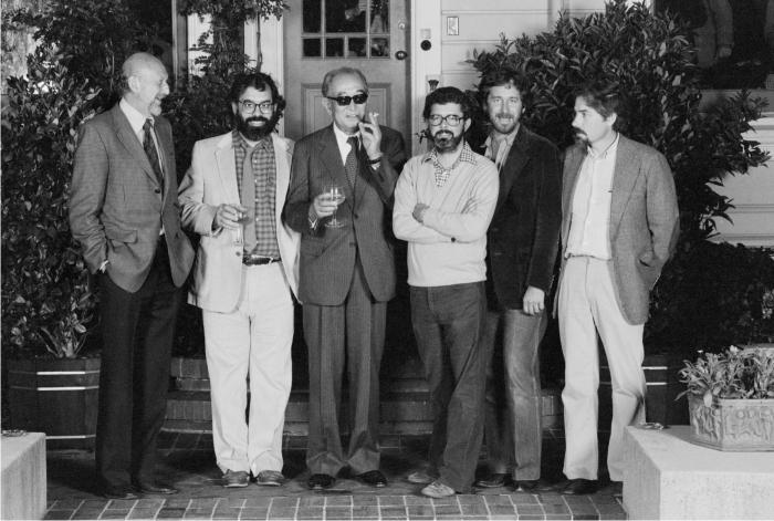 Irvin Kershner, Francis Ford Coppola, Akira Kurosawa, George Lucas, Steven Spielberg y Carroll Ballard. Foto: Corbis.