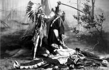 Representación de un nativo americano apuñalando al coronel Custer , en una escena del Pawnee Bill's Wild West Show. Imagen: Representación de un nativo americano apuñalando al coronel Custer , en una escena del Pawnee Bill's Wild West Show. Imagen: Library of Congress (DP)