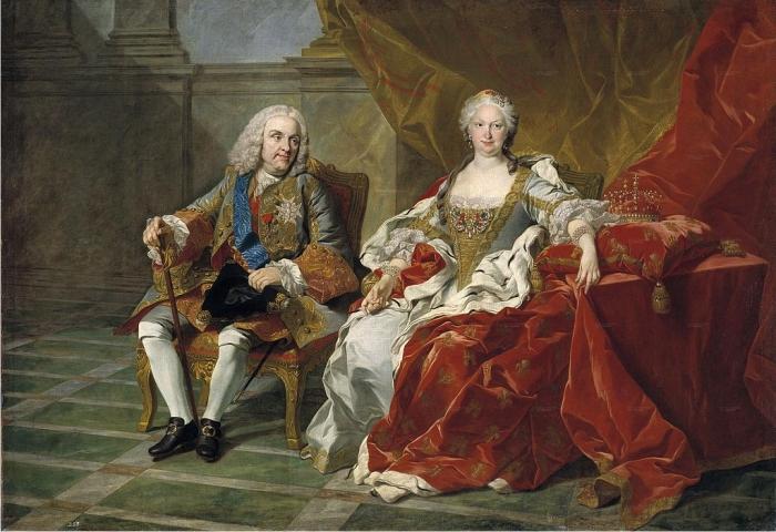 Retrato de Felipe V e Isabel de Farnesio, por Louis-Michel van Loo (DP).
