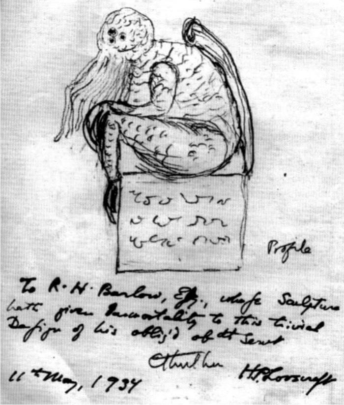 Un boceto de Cthulhu dibujado por Lovecraft. Imagen: DP.