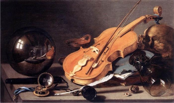 Vanidad con violín y bola de cristal, de Pieter Claesz.