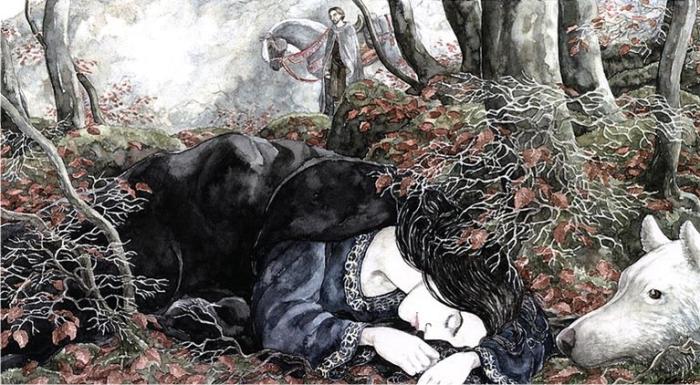 Beren, Lúthien y Huan, por Anke Eissmann Imagen: Walking Tree Publishers.