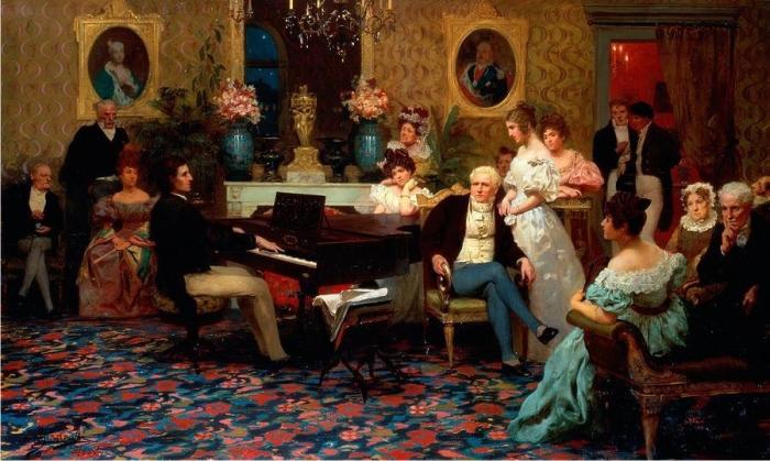 Chopin petándolo ante los Radziwiłł. Imagen: Henryk Siemiradzki.