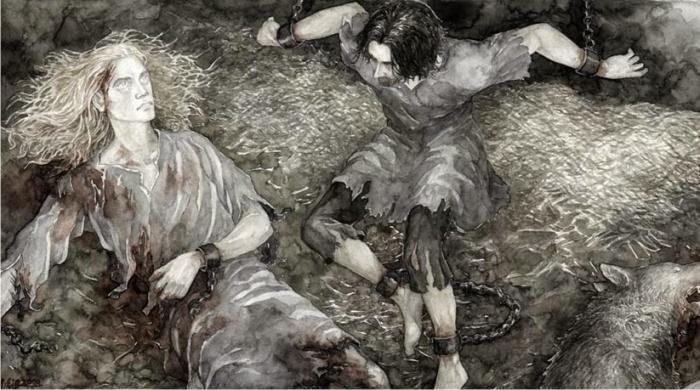 Finrod y Beren en la mazmorra de Sauron, por Anke Eissmann Imagen: Walking Tree Publishers.