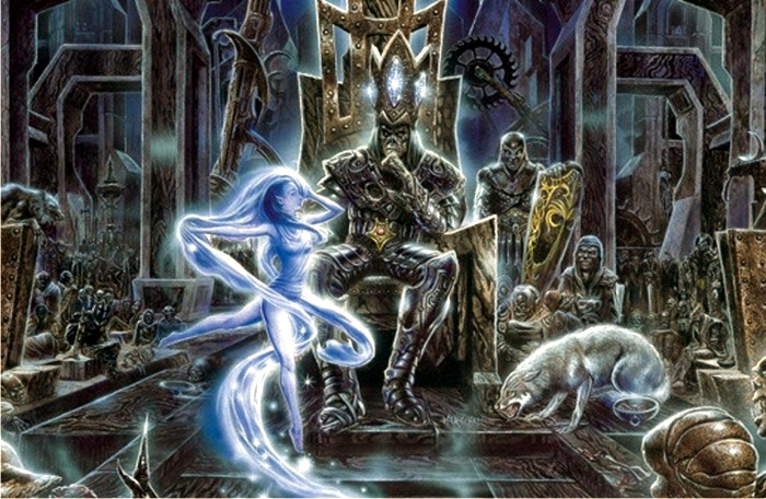 Lúthien baila ante Morgoth. Imagen: Detalle de la portada del disco Nightfall in Middle-Earth (Virgin Records).