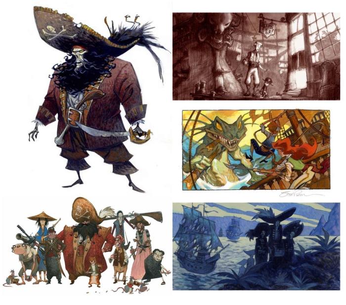 Bocetos para la película de Monkey Island. Imagen cortesía de Steve Purcell.
