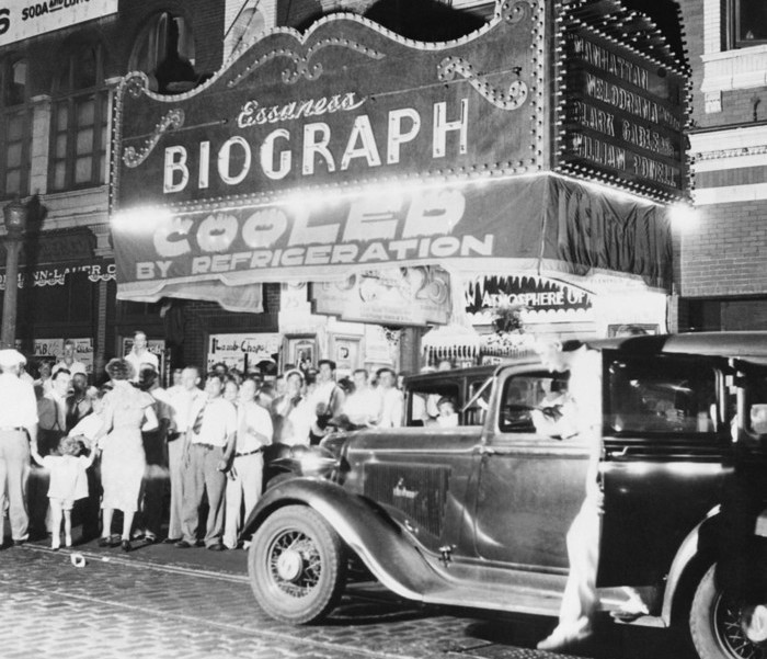 22 Jul 1934, Chicago, Illinois, USA --- Original caption: John Dillinger Killed in Chicago. Chicago, Illinois: Federal agents caught up with the elusive John Dillinger and killed him as he was leaving the Biograph movie theater in Chicago on July 22. This photo shows the front of the small theater after the shooting. The picture the arch desperado was seeing was Manhattan Melodrama, a crook picture. --- Image by © Bettmann/CORBIS