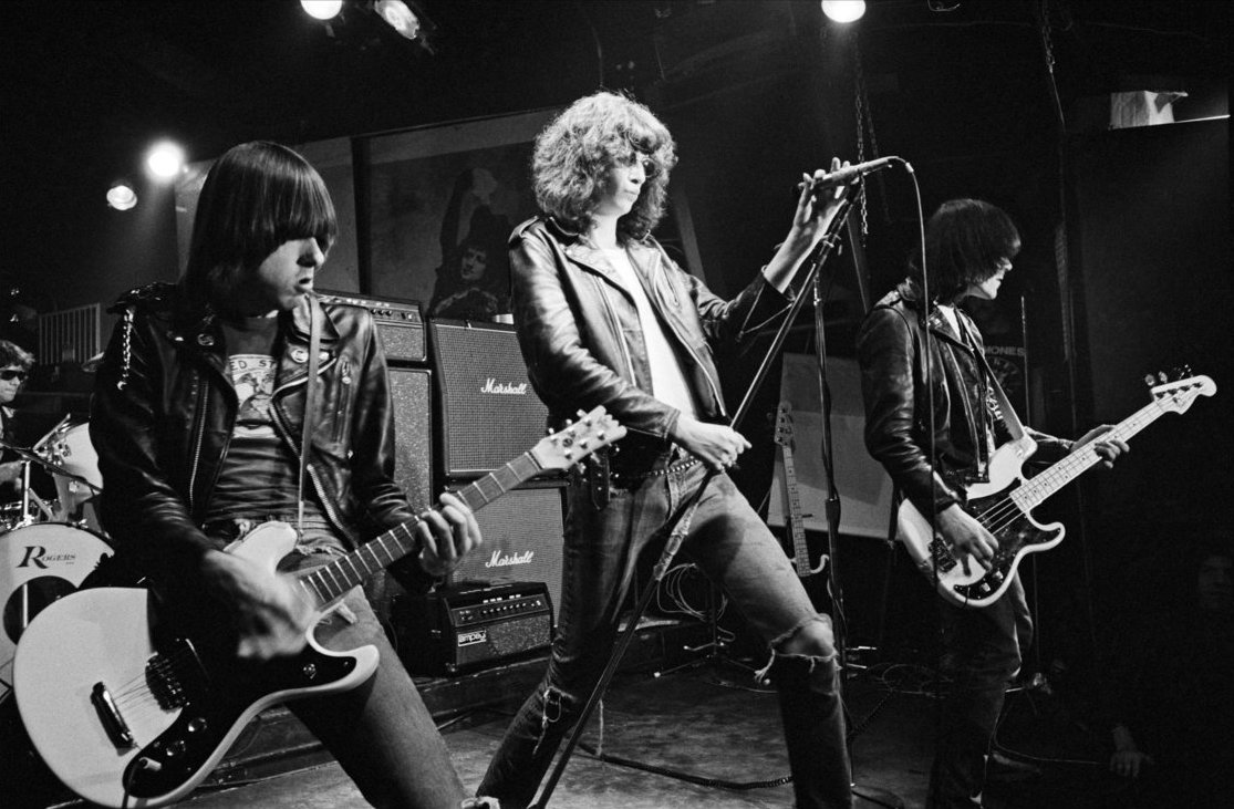 RAMONES; Dee Dee Ramone; Johnny Ramone; Joey Ramone; at CBGB (Country, Blue Grass, and Blues) music club Manhattan, New York City, USA; circa 1979; Credit: Felipe Orrego / ArenaPAL www.arenapal.com