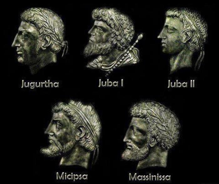 Algunos de los reyes más significativos de Numidia. Imagen cortesía de Mythologie Berbère.
