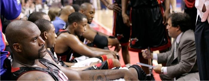 Shaquille O'Neal durante un tiempo muerto de los Heat. Foto cortesía de NBA.
