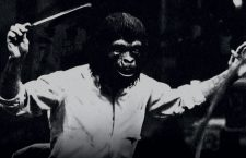 Jerry Goldsmith conducting the orchestra for The Planet of the Apes