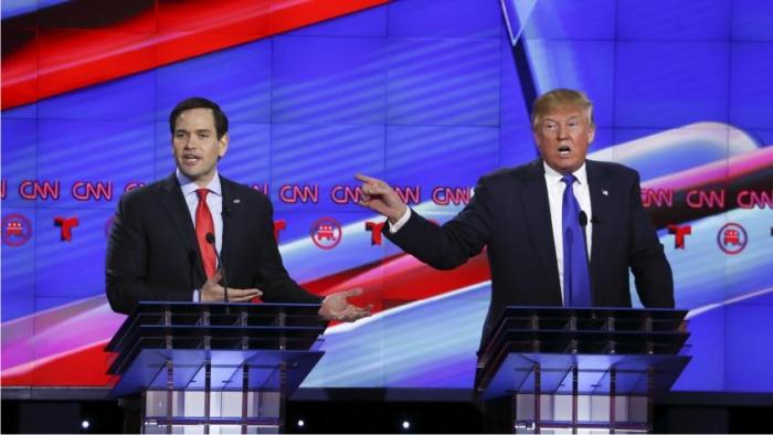 Marco «Little» Rubio y Donald J. Trump. Imagen de CNN.