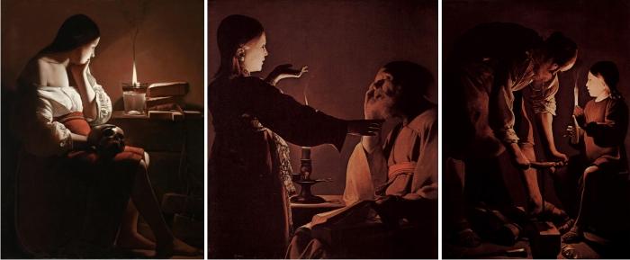 Magdalena penitente de la lamparilla, El sueño de San José y San José carpintero de George de La Tour.