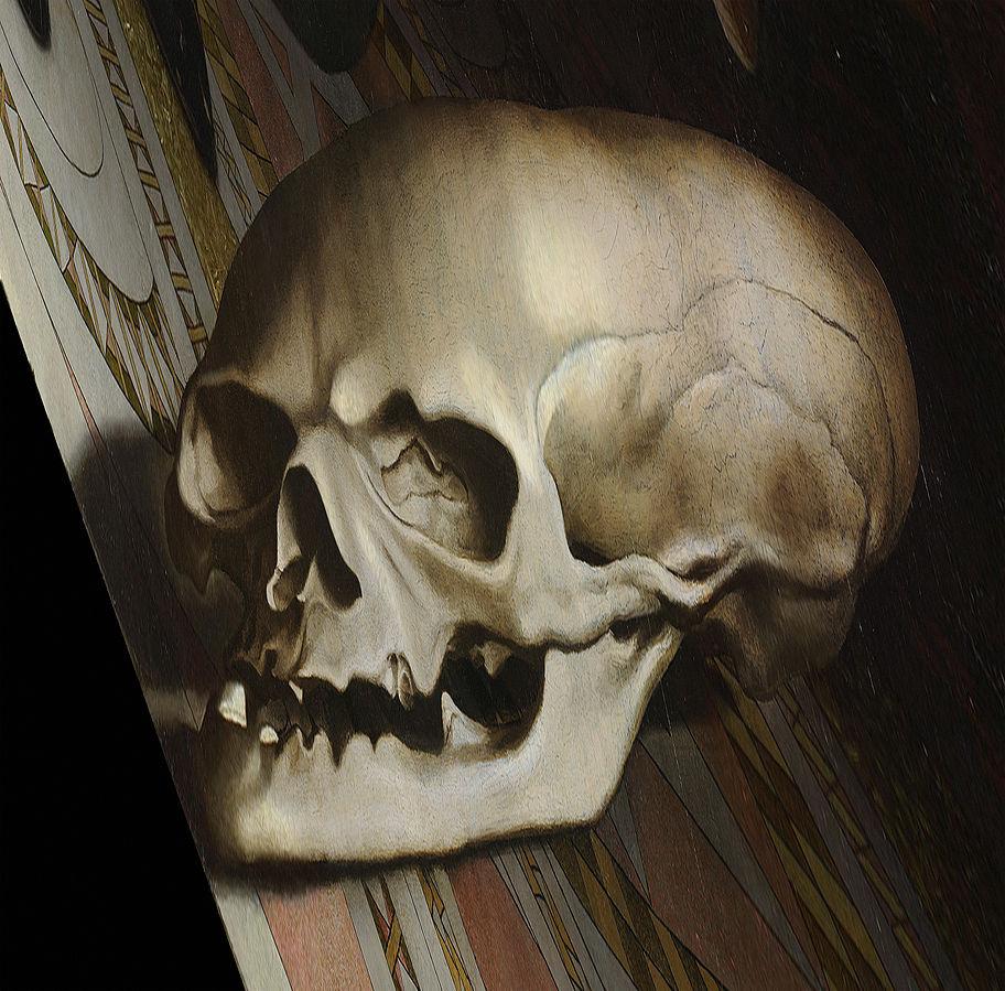 Detalle de la calavera contemplada desde un ángulo muy antipático.