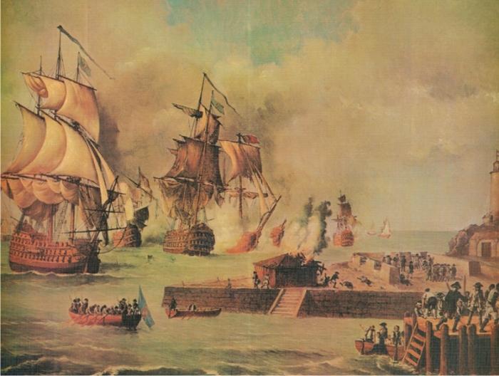 Defensa de Cartagena de Indias por la escuadra de Blas de Lezo, por Luis Fernández Gordillo (DP)