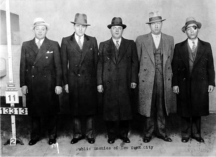 Joseph «Nig» Rosen, Benjamin «Bugsy» Siegel, Harry Teitelbaum, Harry Greenberg y Louis Buckhouse. Foto: New York Police Department (DP)
