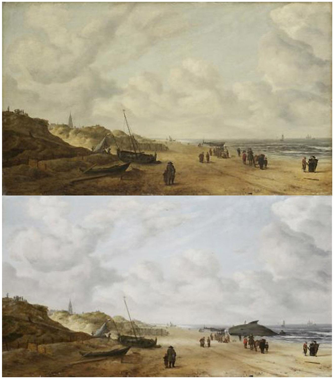 Vista de las arenas de Scheveningen versión retocada y original.