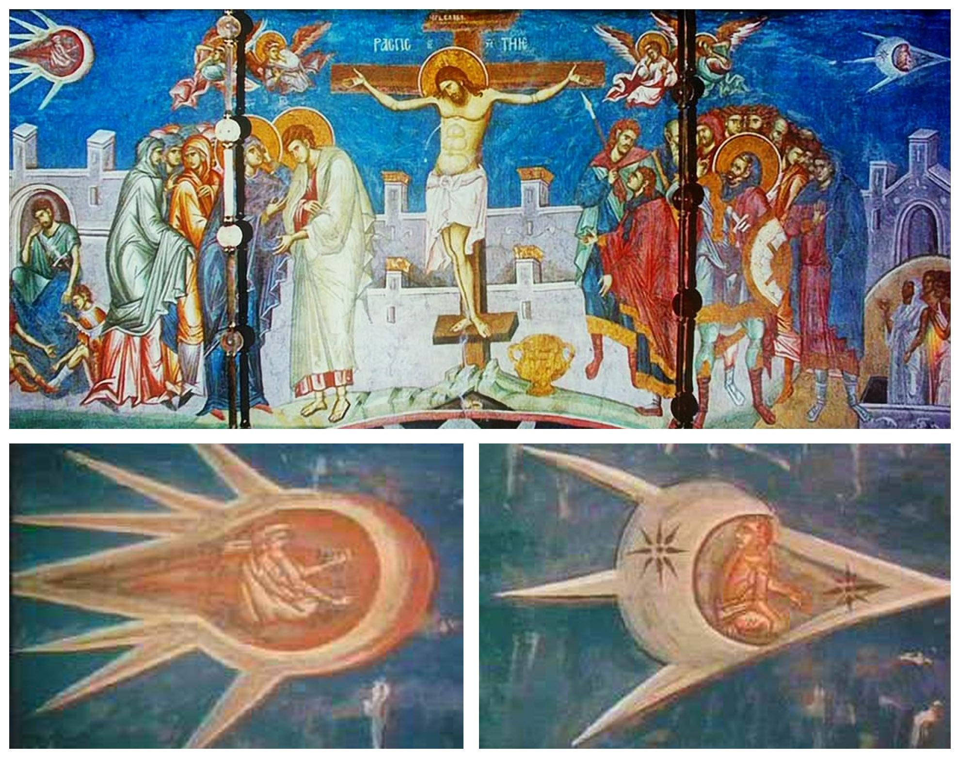 Crucifixión y detalle de supuestas naves.