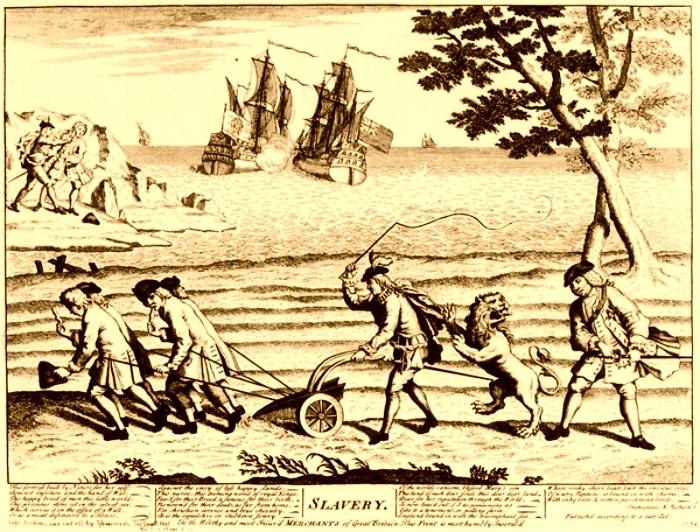 Sátira británica de 1738 en la que aparece el león inglés atacando un arado tirado por esclavos que representa el sistema colonial español. Al fondo se puede ver a Fandiño cortándole la oreja a Jenkins. (DP)