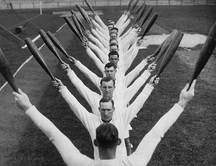 4th November 1937: Swing Time with clubs at the Royal Navy Training School. (Photo by E. Phillips/Fox Photos/Getty Images)