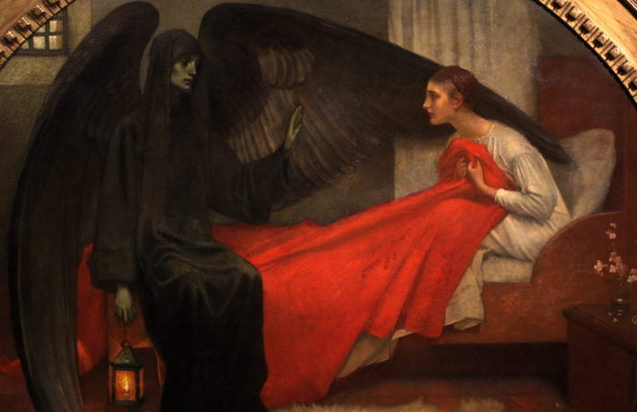 Detalle de La muerte y la doncella, de Marianne Stokes.
